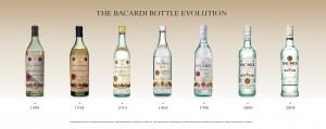 Evolución de la botella de Bacardí Superior