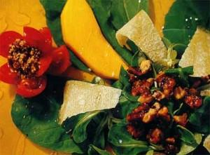 Ensalada de canónigos, rúcula y mango