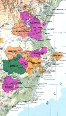 Mapa de situación D.O. Yecla