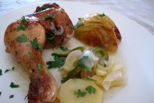 Pollo con patatas y manzana